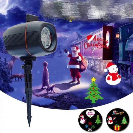 Kültéri színes LED fény projektor, kerti hangulat világítás 4 az 1-ben
