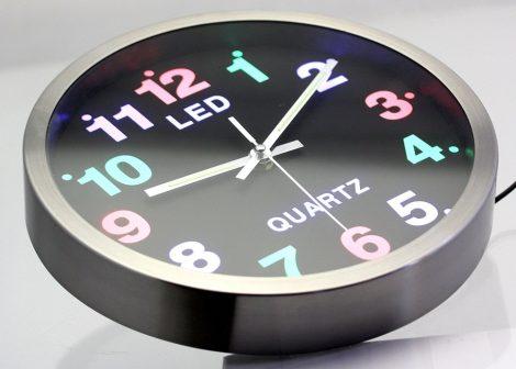 Világító LED Quartz Falióra