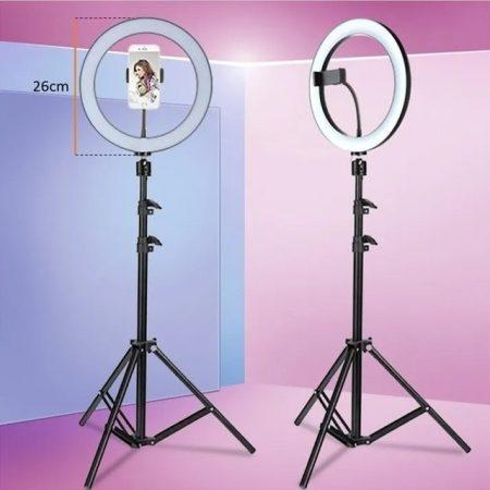 LED gyűrű selfie lámpa, állvánnyal