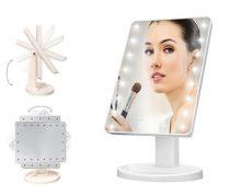 LED-es kozmetikai tükör, 180°-ban forgatható - állítható fényerővel