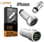 Dual Port USB autós töltő 3.6A  + USB kábel Lightning  cink ötvözet