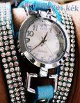Karkötő óra csillogó strasszköves díszítéssel -több színben