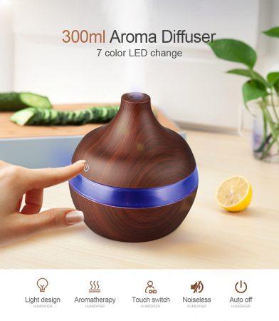 Mini fahatású, ultrahangos párologtató / párásító, 300 ml