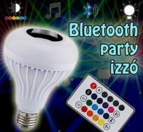 Bluetooth Party Led izzó / e27 MP3+RGB LED körte távirányítóval