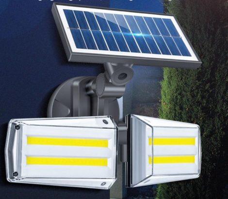 Napelemes kültéri fény- és mozgásérzékelős lámpa