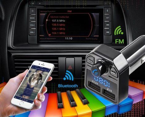 Kettős Usb-s Autó Töltő- FM Transzmitter X1