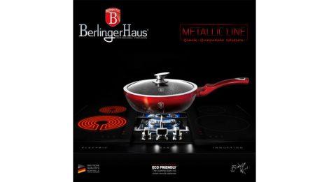 Berlinger Haus Metallic Line mély serpenyő márvány bevonattal, metál külső bevonattal, fedővel, 24 cm, fekete/burgundy