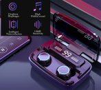 Bluetooth fülhallgató tokba épített töltővel  5V