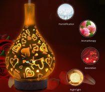 3D LED aromaterápiás párásító-távírányítós