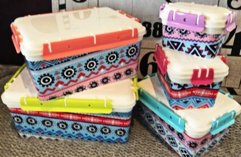 5 részes tároló doboz készlet -vidám, hangulatos színekben