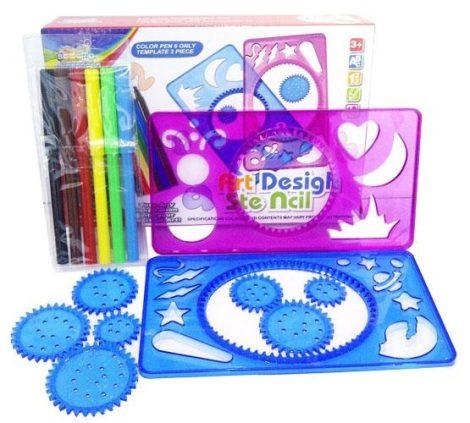 Rajzoló játék alakzatokkal 6 színes fictollal és 2 sablonnal