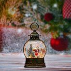 Karácsonyi  lámpás mozgó, szálló csillámmal-zenélő