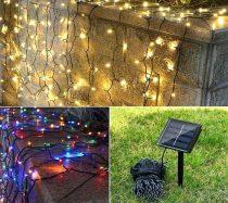 Napelemes Karácsonyi LED égősor, Fényfüzér, Kültéri- 100 Led