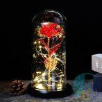Ledes rózsa üvegburában, dísz dobozzal