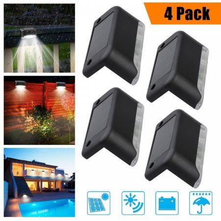 Napelemes kültéri LED lámpa, lépcsőre – vízálló, 4 db