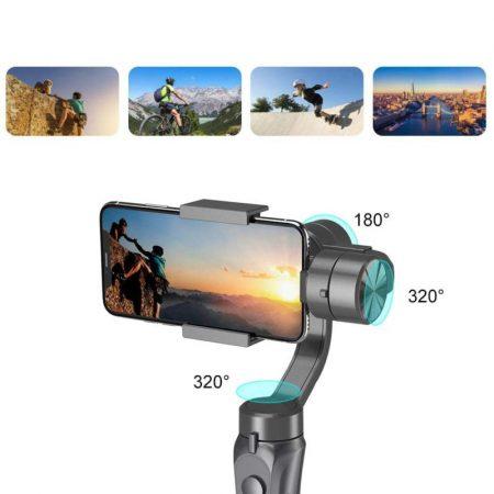 Kézi okostelefon-stabilizátor állvánnyal / motoros, tölthető