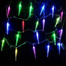 Napelemes Karácsonyi LED égősor, Kerti Fényfüzér, Kültéri, Színes jégcsap