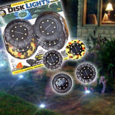 Mintás Solar Disc szett - 4 db napelemes LED lámpa fényérzékelővel