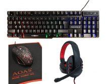 4 az 1-ben RGB Gamer készlet, Billentyűzet, Egér, Fejhallgató, Egérpad