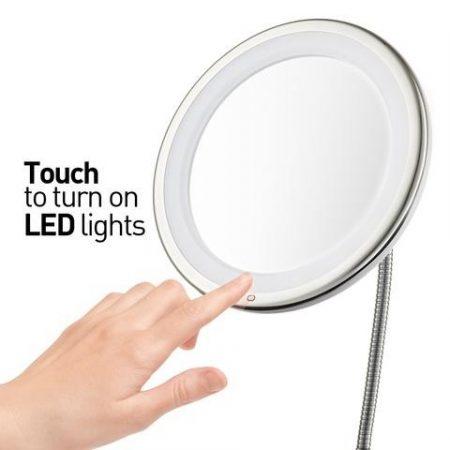 Smink és kozmetikai tükör LED lámpával - 10x nagyítású-kerek