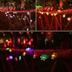Napelemes karácsonyi fényfüzér hópehely alakú LED izzókkal 30 Led-es