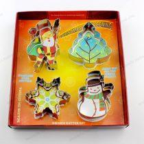 4 részes karácsonyi sütikiszúró készlet (hópehely, Mikulás, hóember, fenyőfa)