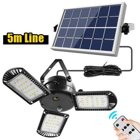 60 led-es szolár lámpa 3 állítható lámpafejjel /távirányítóval