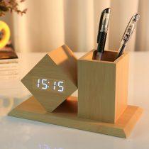 Dizájn fahatású multi funkciós óra - ceruzatartóval