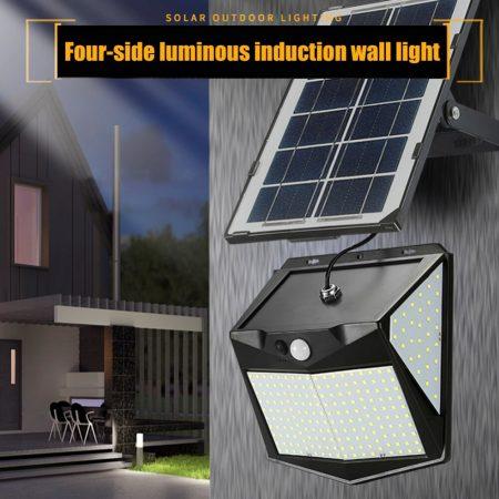 240 LED-es napelemes napfény vízálló mozgásérzékelő fali lámpa