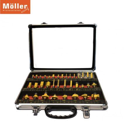 Möller /Flnke  35 részes horonymaró készlet - fém kofferben