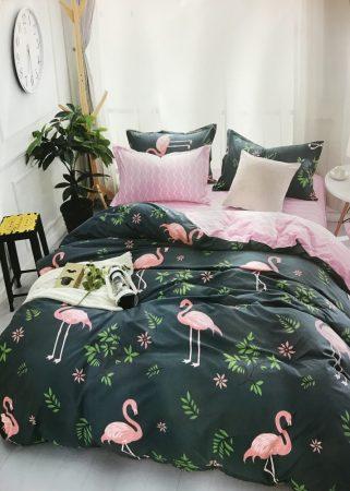 7 Részes Ágynemű Garnitúra Flamingó- Sötétkék