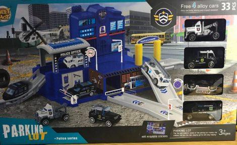 Rendőrségi parkolóház kisautóval 4 db kisautóval